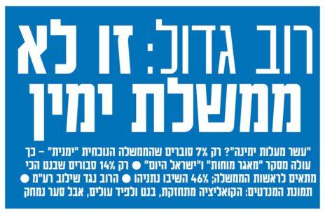 """כותרת הידיעה הראשית של """"ישראל היום"""", היום"""
