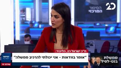 """נוה דרומי מראיינת את ח""""כ ישראל כ""""ץ במהדורת החדשות של ערוץ 20, 28.7 (צילום מסך)"""