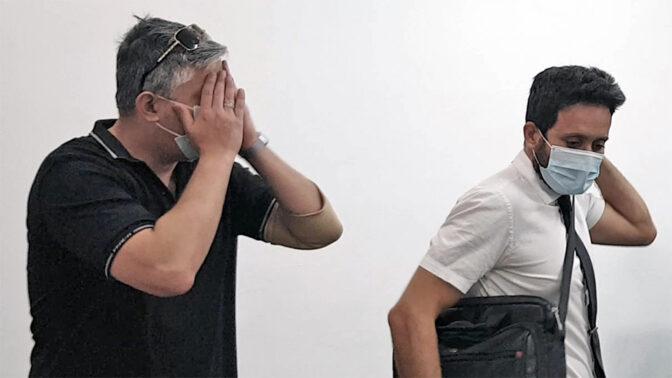 שגיב קורן (משמאל) ועורך-דינו גיא בר (צילום: אורן פרסיקו)