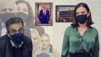 """מיכל קליין, לשעבר ראש מערכת החדשות ב""""וואלה"""" ועדה במשפט המו""""לים, ואילן ישועה, לשעבר מנכ""""ל """"וואלה"""". ברקע: הנאשמים במשפט השוחד: רה""""מ לשעבר בנימין נתניהו ובעלי השליטה לשעבר ב""""וואלה"""" שאול ואיריס אלוביץ'. איתם: היחצן ניר חפץ ושרה נתניהו (צילומים מקוריים: פלאש90 ו""""העין השביעית"""")"""