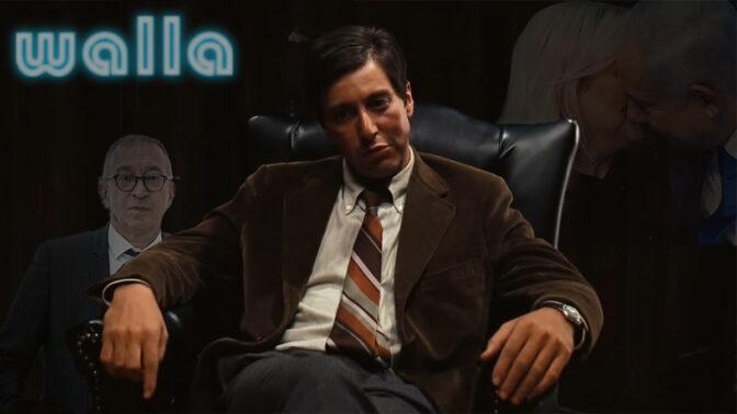 """אל פצ'ינו בסרט """"הסנדק"""" (צילום מסך). ברקע: בני בזוג בנימין ושרה נתניהו ועורך-הדין בעז בן-צור (צילומים: פלאש 90)"""