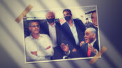 """מימין: מנכ""""ל ערוץ 10 לשעבר יוסי ורשבסקי; רה""""מ לשעבר בנימין נתניהו הנאשם בשוחד; העד אילן ישועה, מנכ""""ל """"וואלה"""" לשעבר; שאול אלוביץ', לשעבר בעל השליטה בבזק וב""""וואלה"""", נאשם בשוחד; מנכ""""ל """"גלובס"""" לשעבר איתן מדמון (צילומים מקוריים: """"העין השביעית"""" ופלאש 90)"""