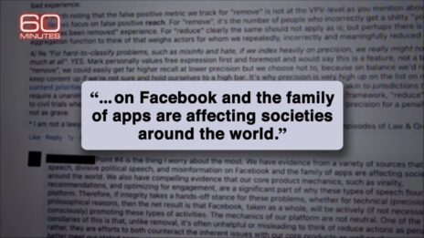 """מסמך פנימי של פייסבוק שהדליפה פרנסס האוגן (צילום מסך מתוך התוכנית """"60 דקות"""" ב-CBS)"""